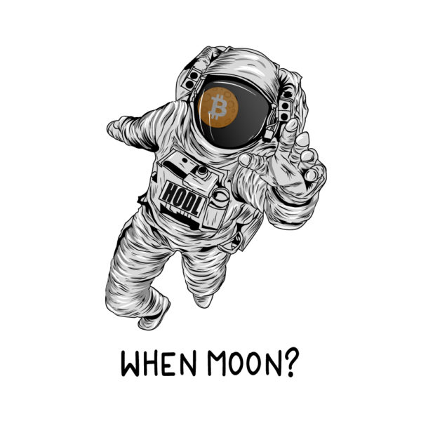 When Moon? Bitcoin T-Shirt - Astronaut Graphic